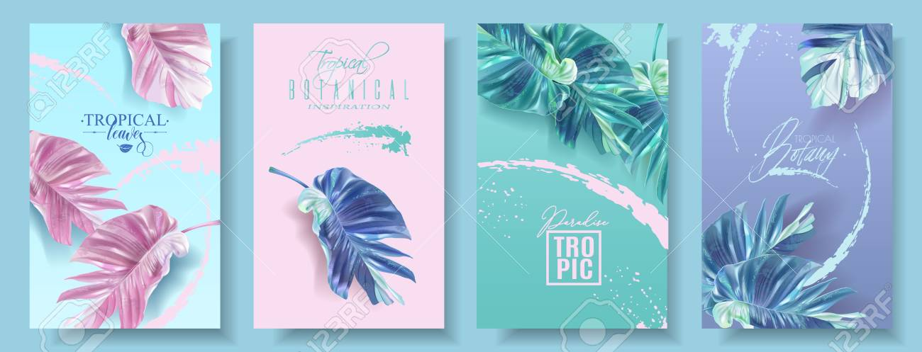 Vector tropical leaf banner set on bright background. Trending colors modern botany design for cosmetics, spa, perfume, health care products, aroma, tourist agency, summer party - 127672804