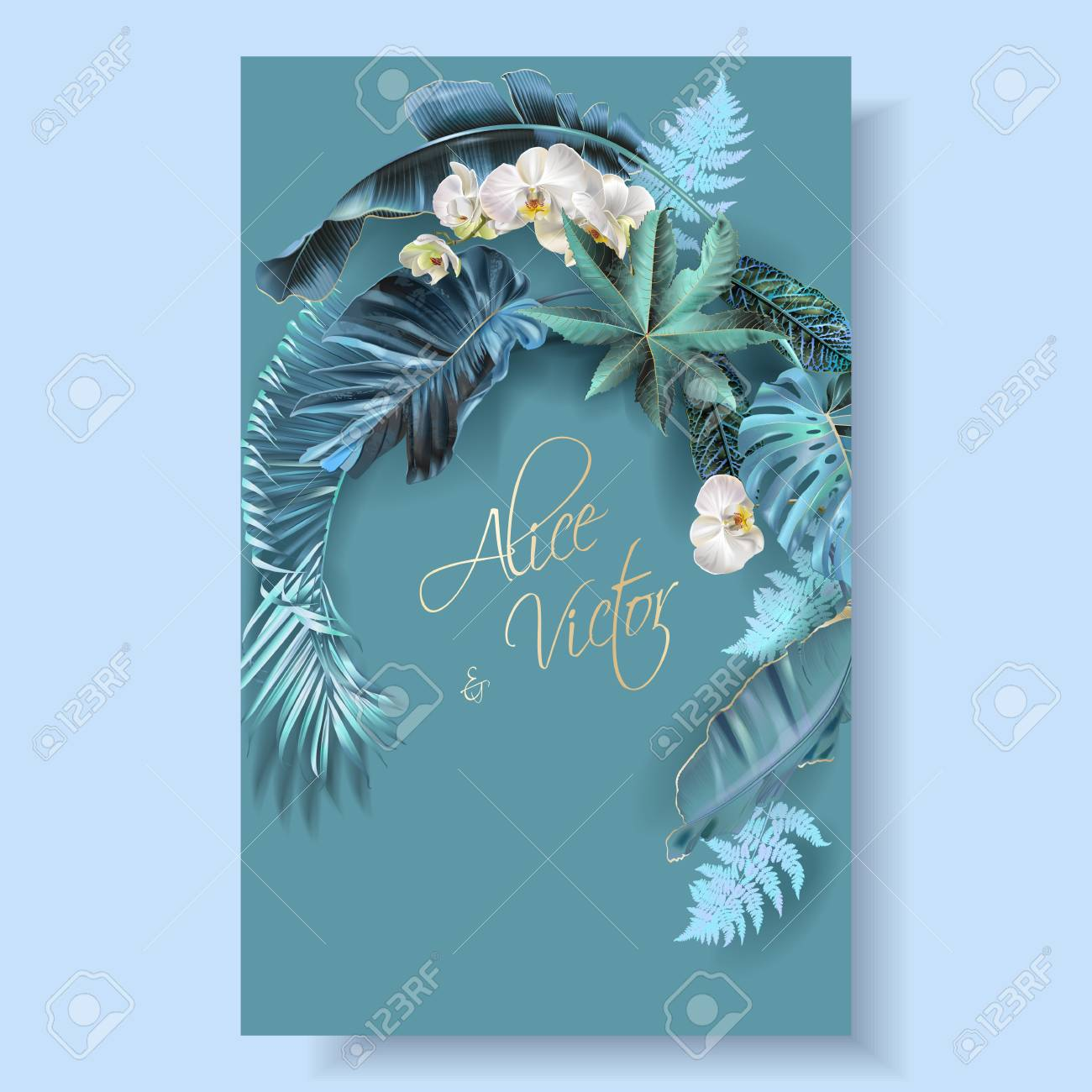 Vector vertical wedding invitation card with blue, turquoise, purple tropical leaves and orchid flowers. Fantastic botany design for wedding ceremony. Can be used for cosmetics, beauty salon - 127672806