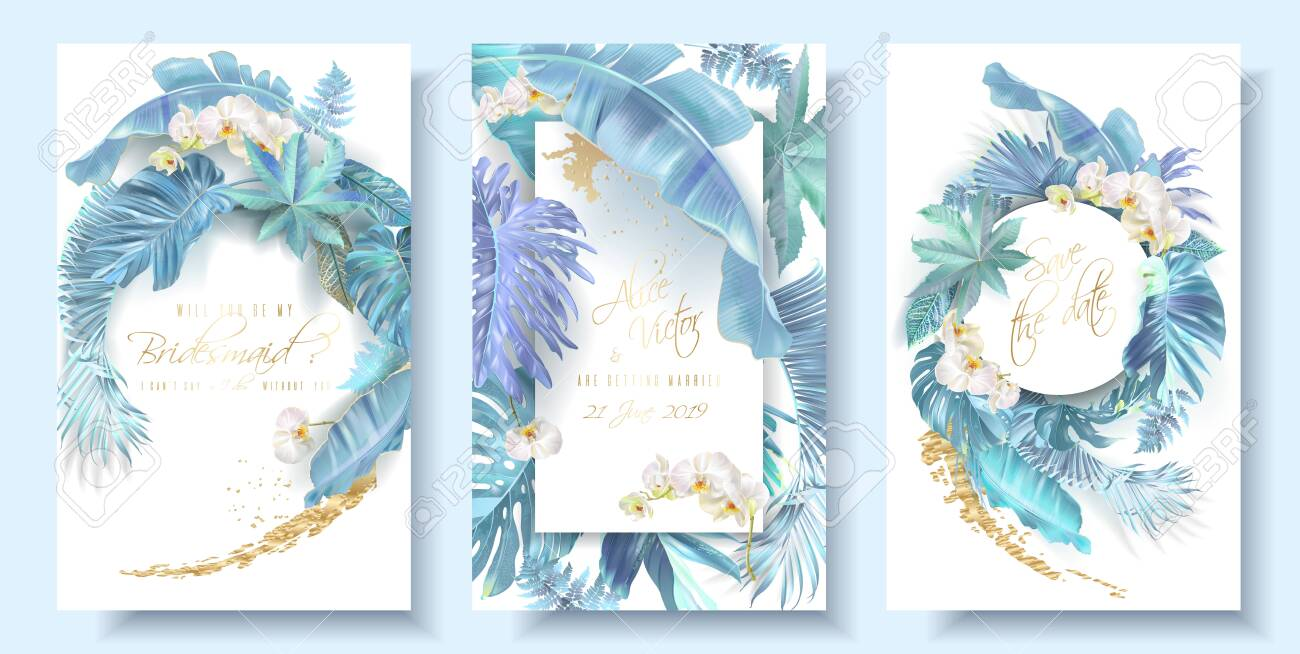 Tropical blue leaves and orchid wedding cards - 133890355