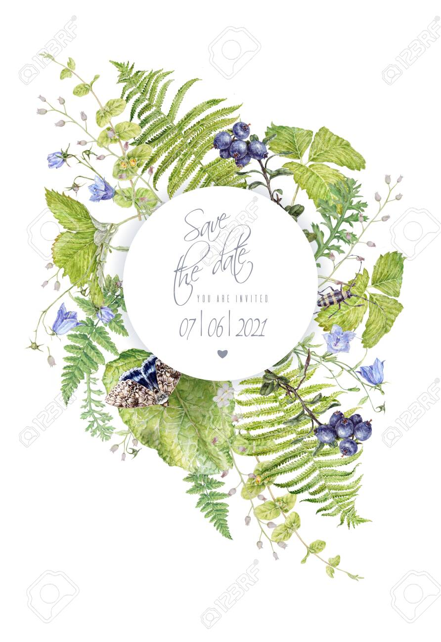 Watercolor round frame with forest plants butterfly - 132040577