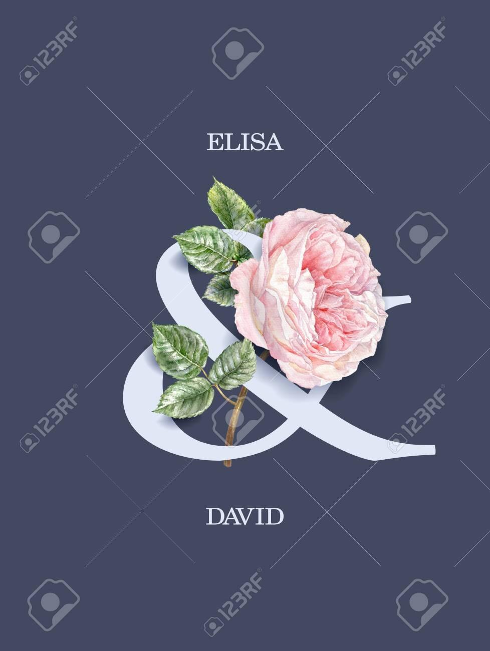 Watercolor pink rose flower wedding invitation card - 137493769