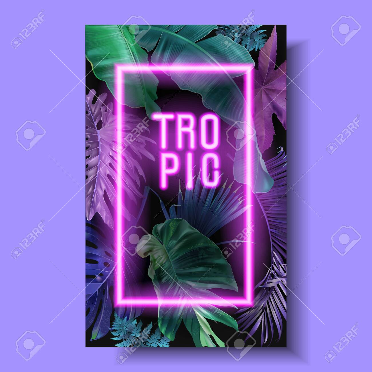 Vector banner with color tropical leaves and neon letters on black background. Botanical design for tropical night party, wedding invitation, cosmetics, spa, beauty salon, travel agency, florist shop - 138134823