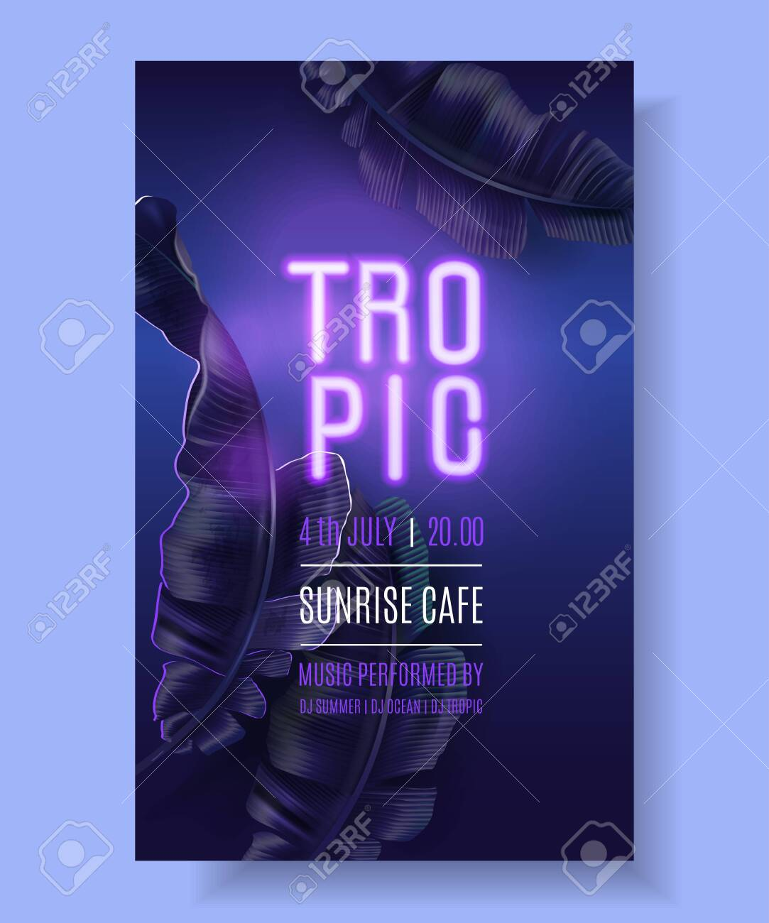 Vector tropical banner with purple banana leaves and pink neon letters on dark blue background. Exotic design for night music party, beach event invitation, dance party, summer sale, cosmetics flyer - 139511797
