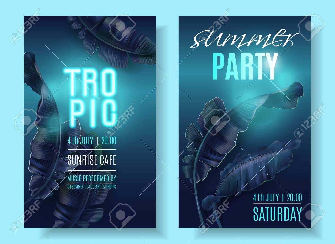 Vector tropical banner set with blue banana leaves and turquoise neon letters on dark blue background. Exotic design for night music party, beach event invitation, dance party, sale, cosmetics flyer - 139834072