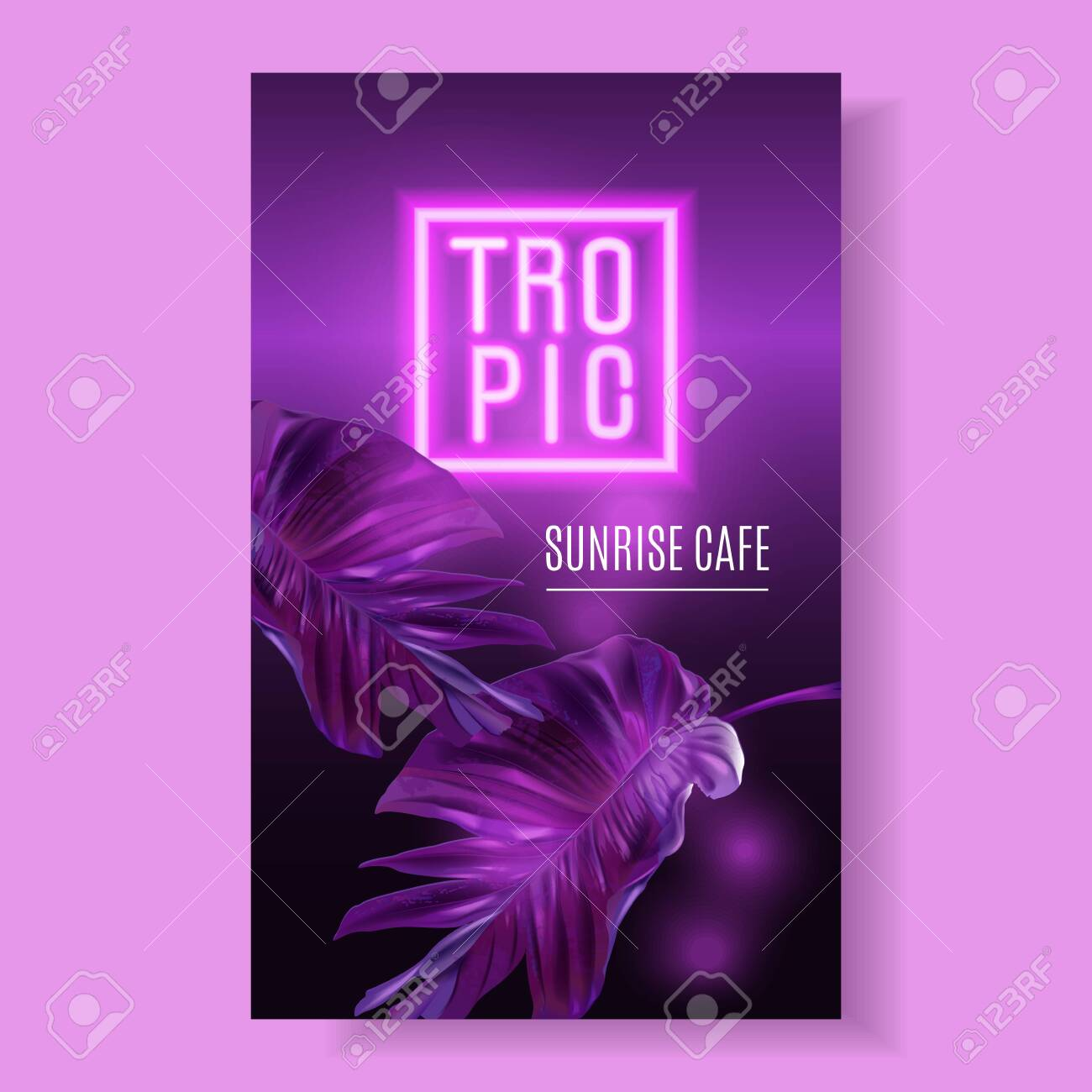 Vector purple neon banner with tropical leaves - 141614303