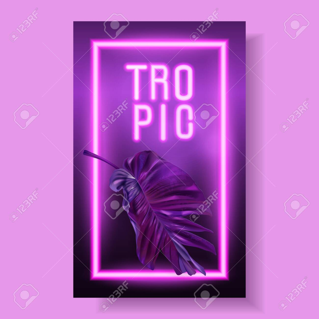 Vector banner with purple tropical leaves and pink neon letters on dark background. Exotic design for night music party, beach event invitation, dance party, summer sale, cosmetics flyer - 139833880