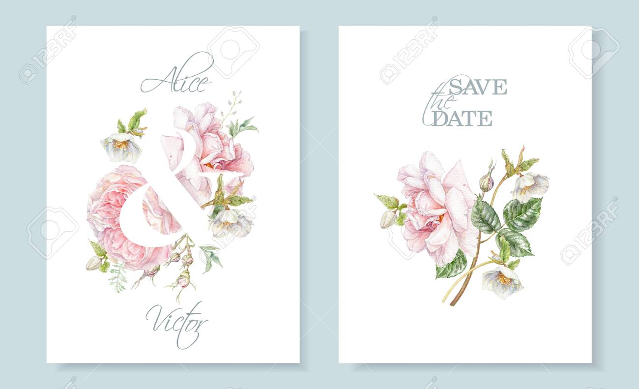 Watercolor hand drawn wedding invitation cards with pink rose and hellebore flower isolated on white. Botanical bouquet can be used for for cosmetics, women products, summer background,greeting design - 140287651