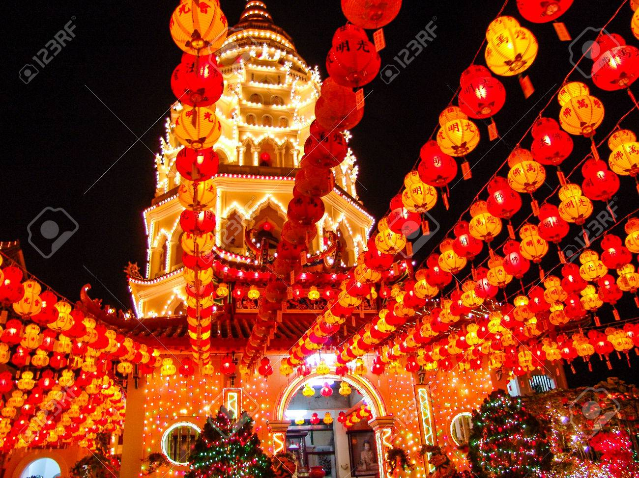 Paper Lantern In A Chinese Buddhist Temple Taken On Chinese ...