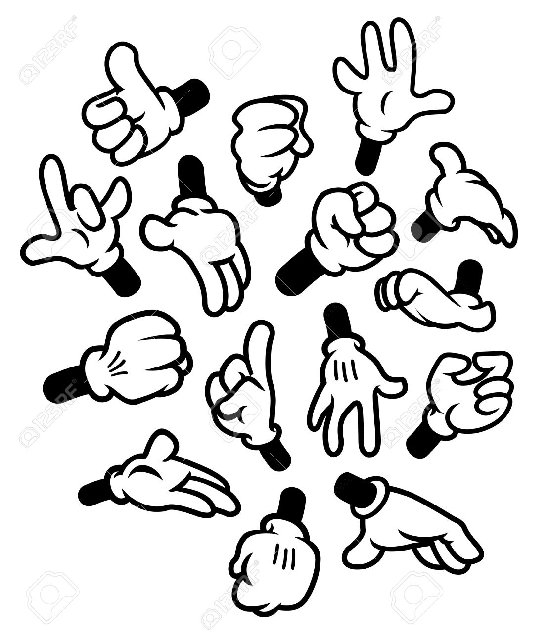 Cartoon Hands Gestures Royalty Free Cliparts Vectors And Stock