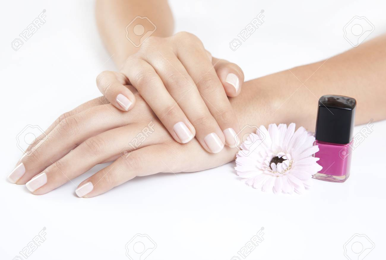 Woman Hands With Beautiful Fingernails And Nail Polish Stock Photo ...