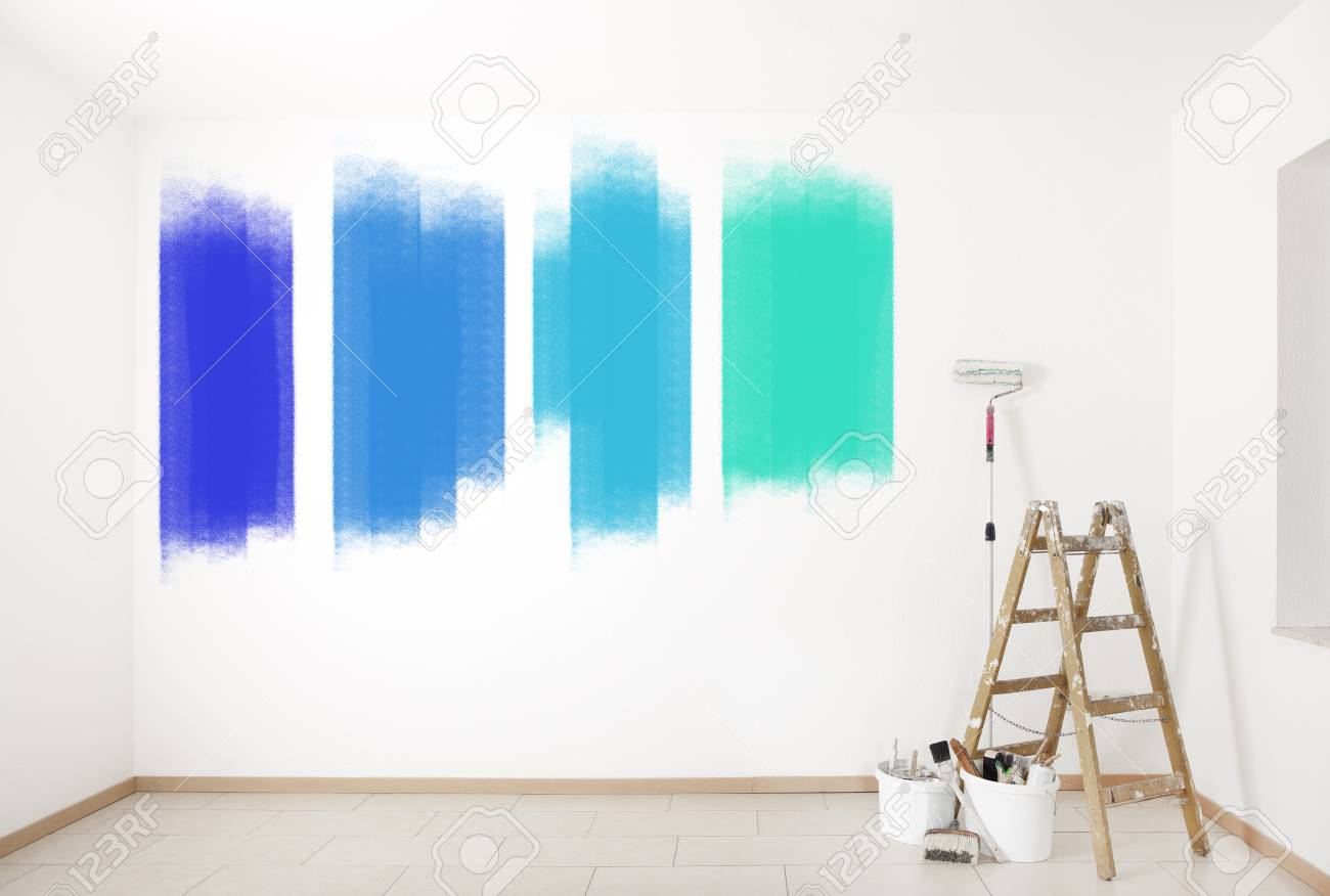 A Choice Of Bright Colors On A Wall With Ladder And Painting