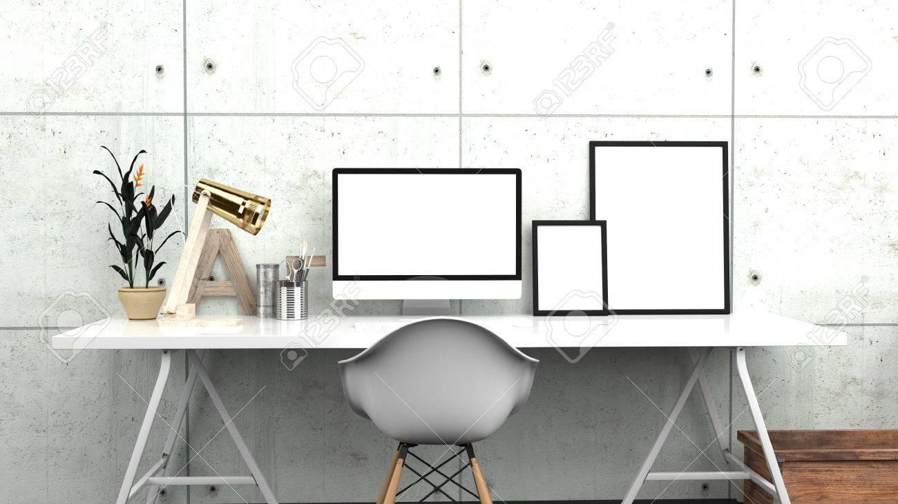 Creative Home Office, Modern Studio Or Contemporary Workspace Interior Mock  Up, Blank Desktop Computer