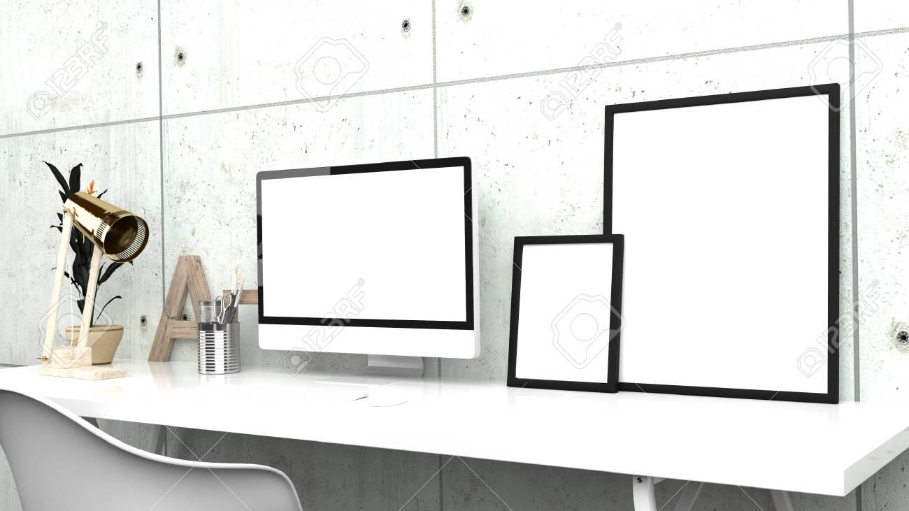 Oficina Hogareña Creativa, Estudio Moderno O Espacio De Trabajo ...