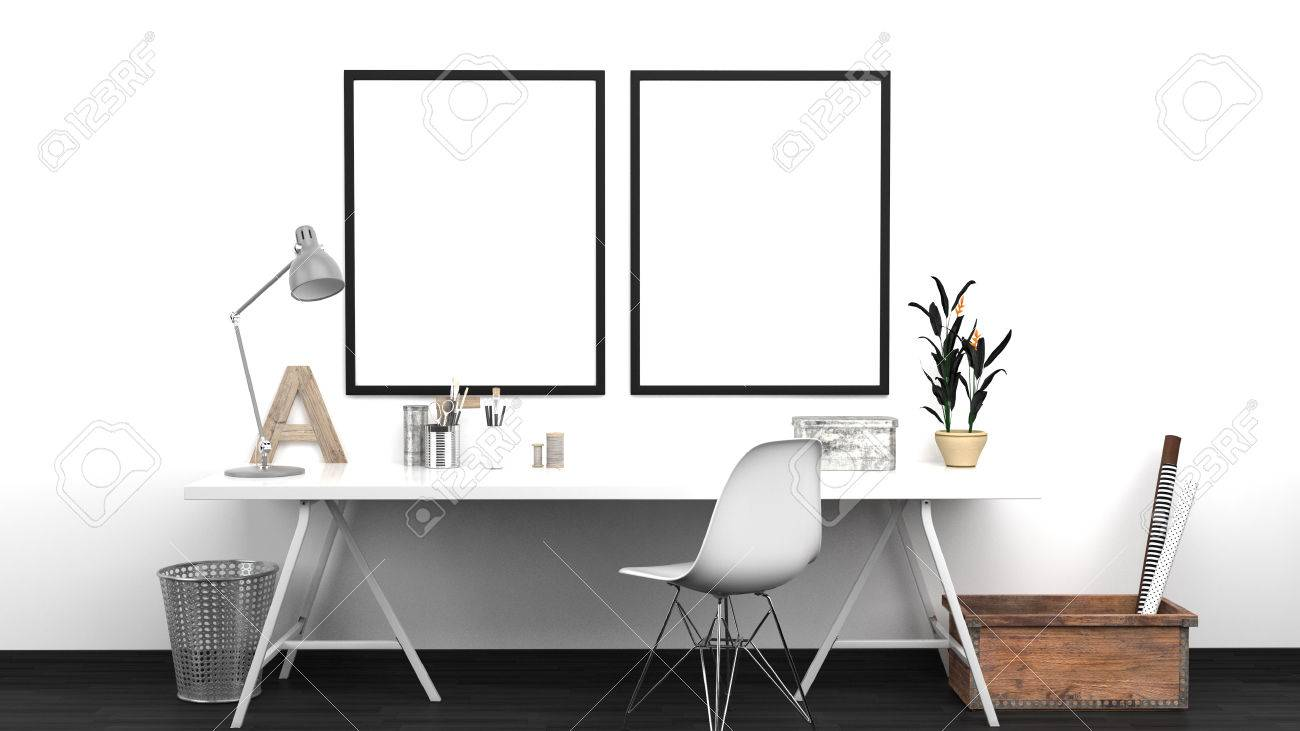 Workshop Interior Mock Up With 2 Frames, Home Studio, Contemporary ...