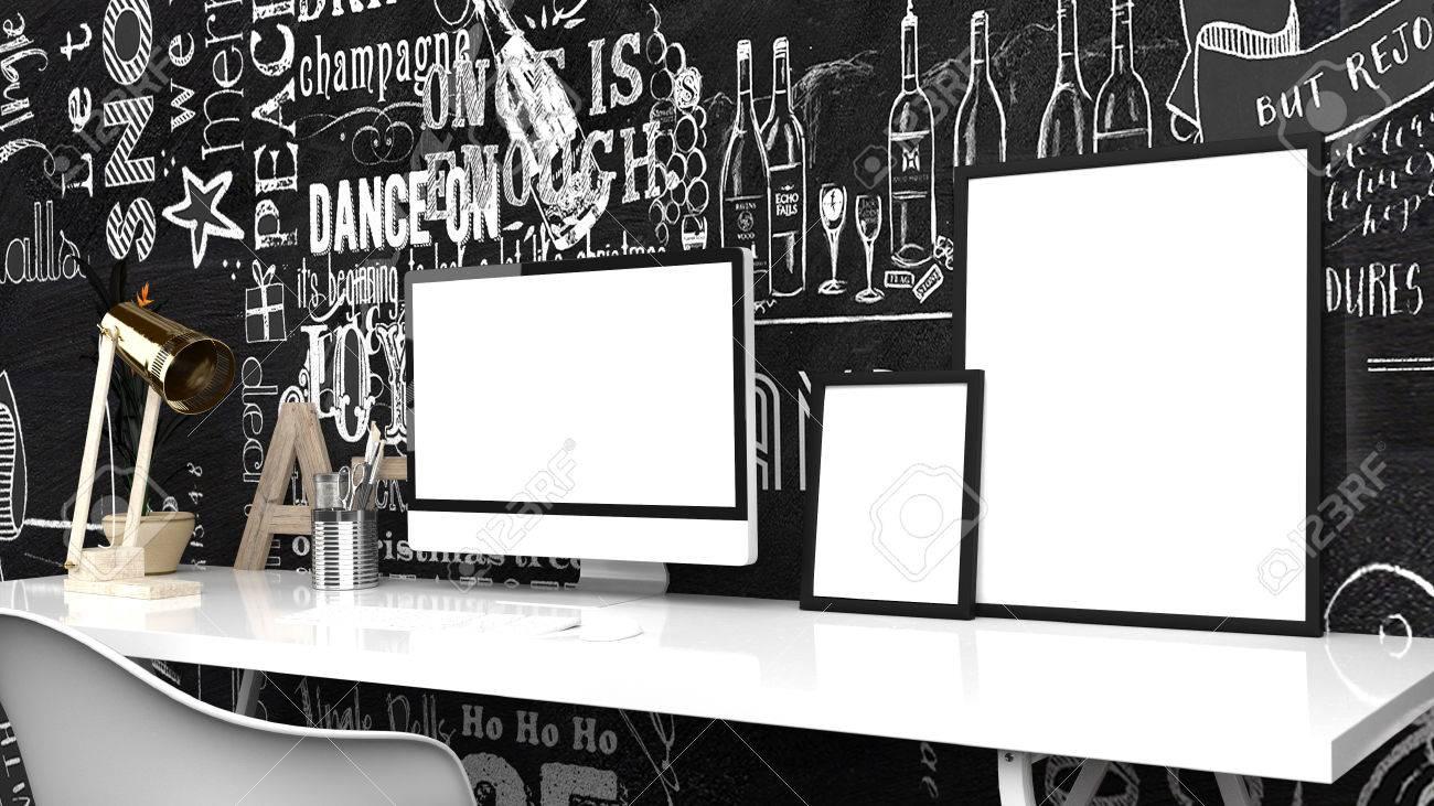 Bureau à la maison créative moderne studio ou espace de travail