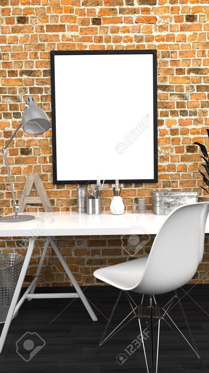 Werkstatt Innen Mock Up Mit Rahmen, Home Studio, Zeitgenössisch, Red ...