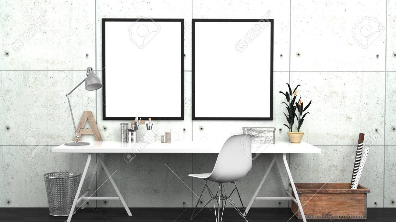 Werkstatt Innen Mock Up Mit 2 Frames, Home Studio, Zeitgenössisch ...