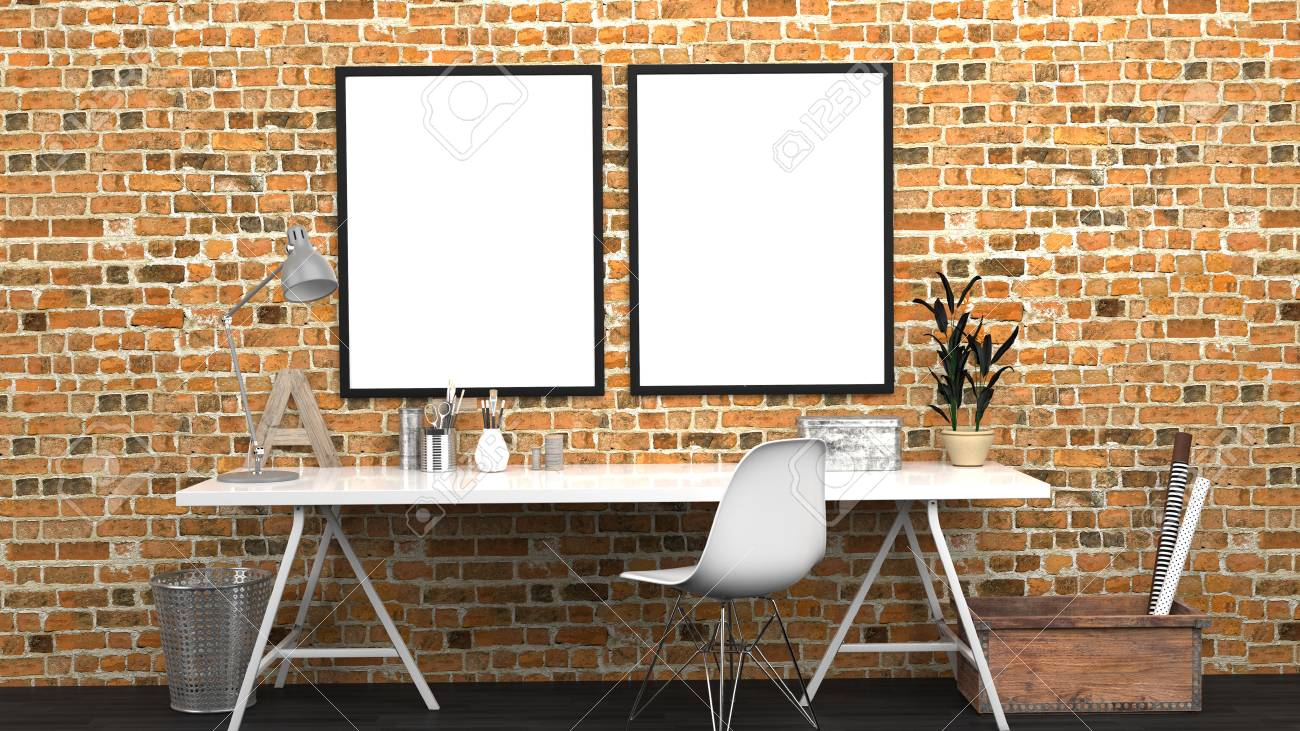 the bricks furniture. Stock Photo - Workshop Interior Mock Up With 2 Frames, Home Studio, Contemporary, Red Bricks Wall, Modern Furniture, 3D Rendering The Furniture