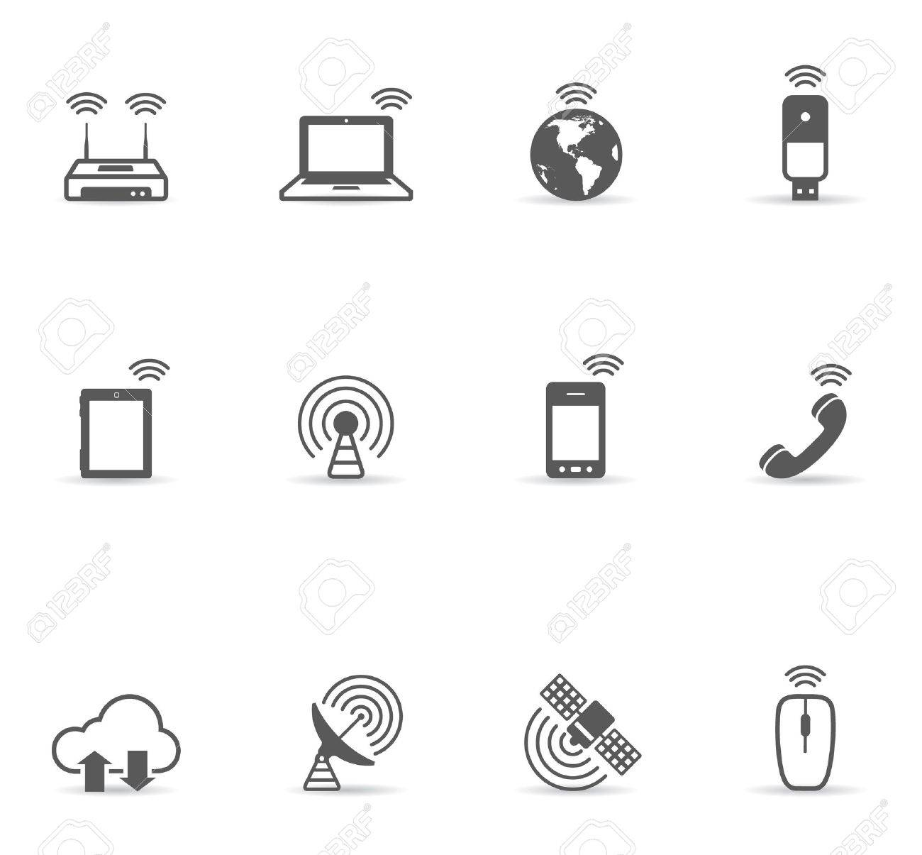 Wireless world icon set in single color. EPS 10 with transparent shadow placed on separate layer. No spot color used. AI, PDF and transparent PNG of each icon included. Stock Vector - 11850676