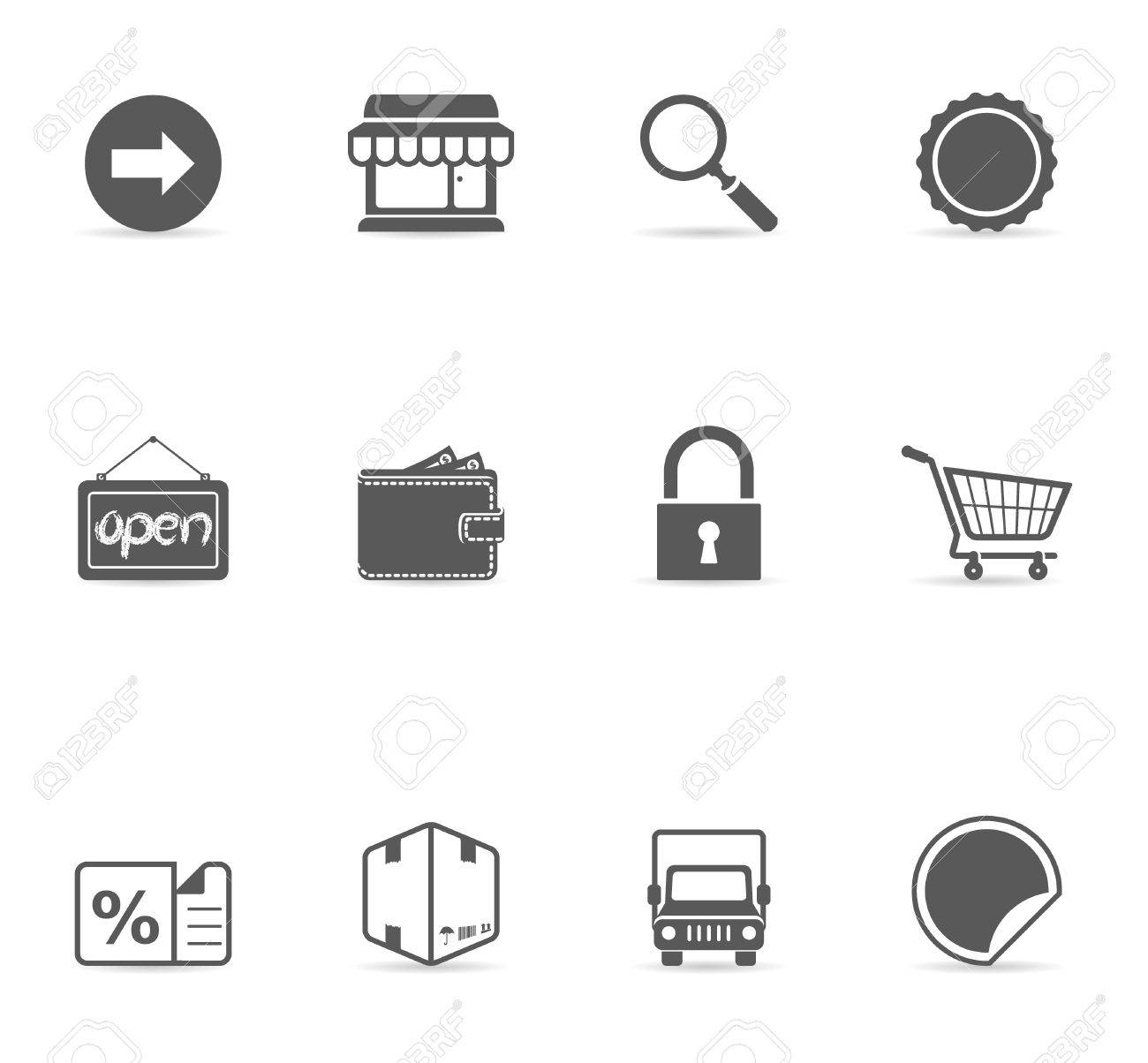 Ecommerce icon set in single color. EPS 10 with transparent shadow placed on separate layer. No spot color used. AI, PDF and transparent PNG of each icon included.