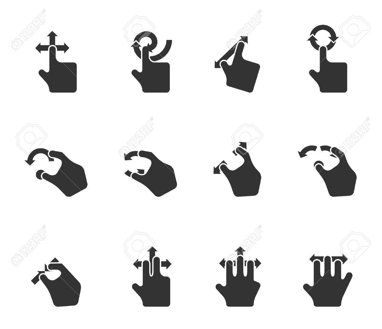 Single Color Icons - Trackpad Gestures Stock Vector - 12861620