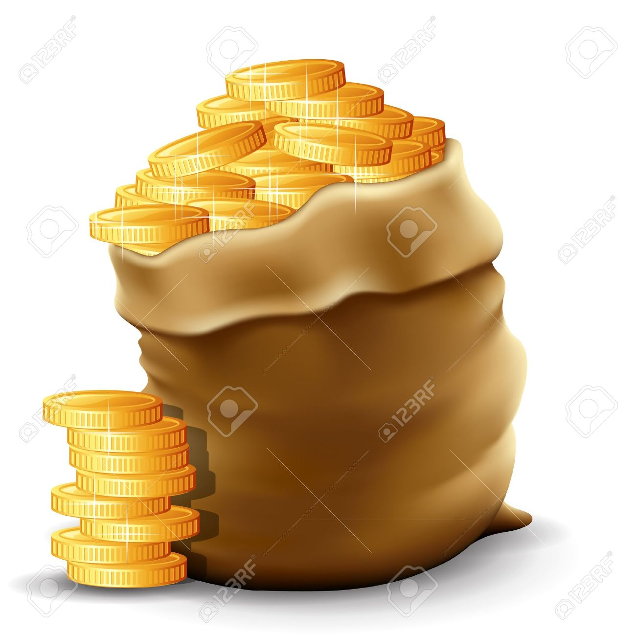 Illustration of a sack with full gold coins in it - 13650460