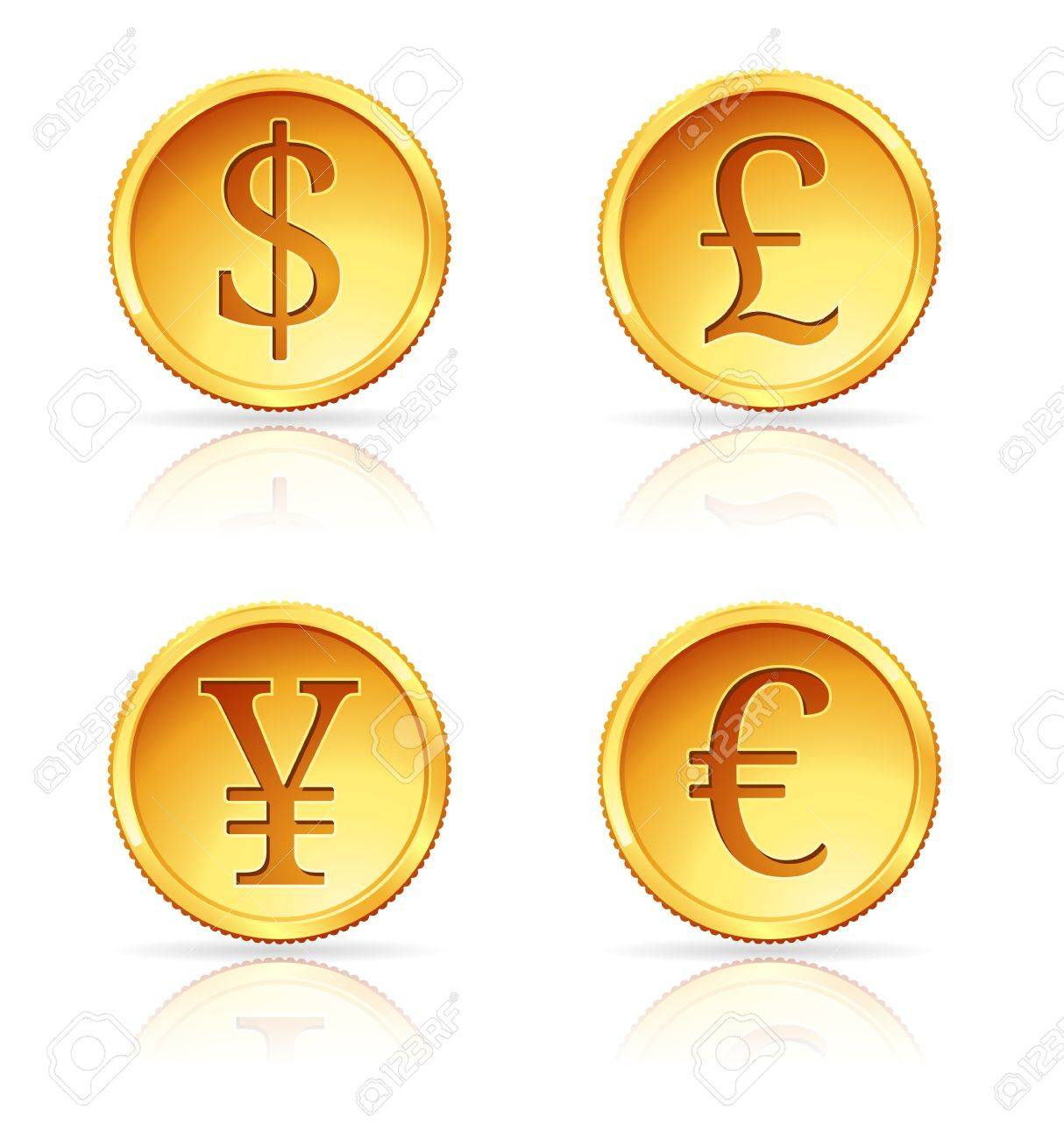illustration of gold coins with 4 major currencies Stock Vector - 13650435