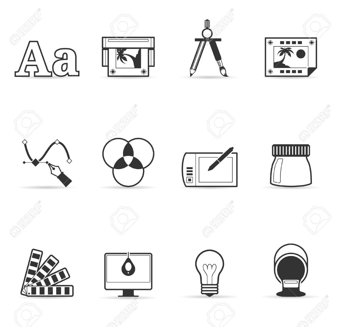 Printing   graphic design icon set in single color Stock Vector - 13650362