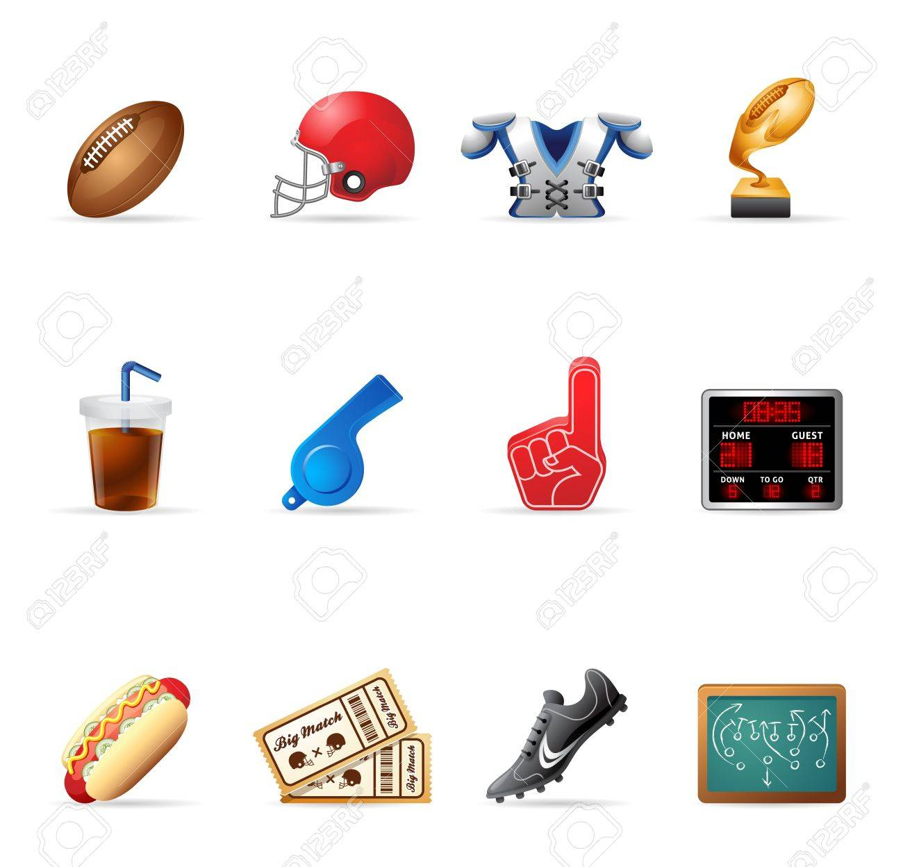 American Football related icons Stock Vector - 13650464