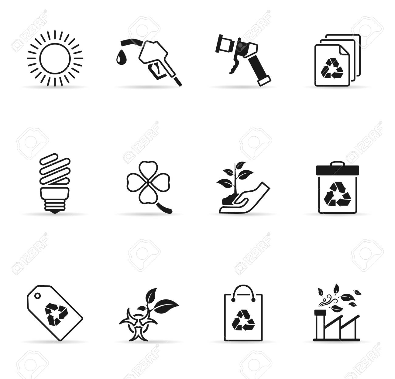 Environment  icons in single color Stock Vector - 14494982