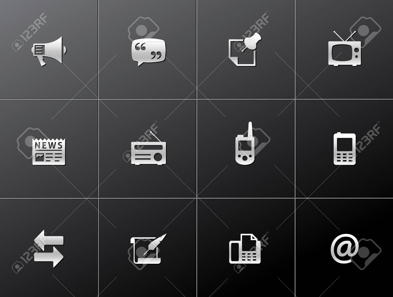 Communication icon series in metallic style Stock Vector - 15259224