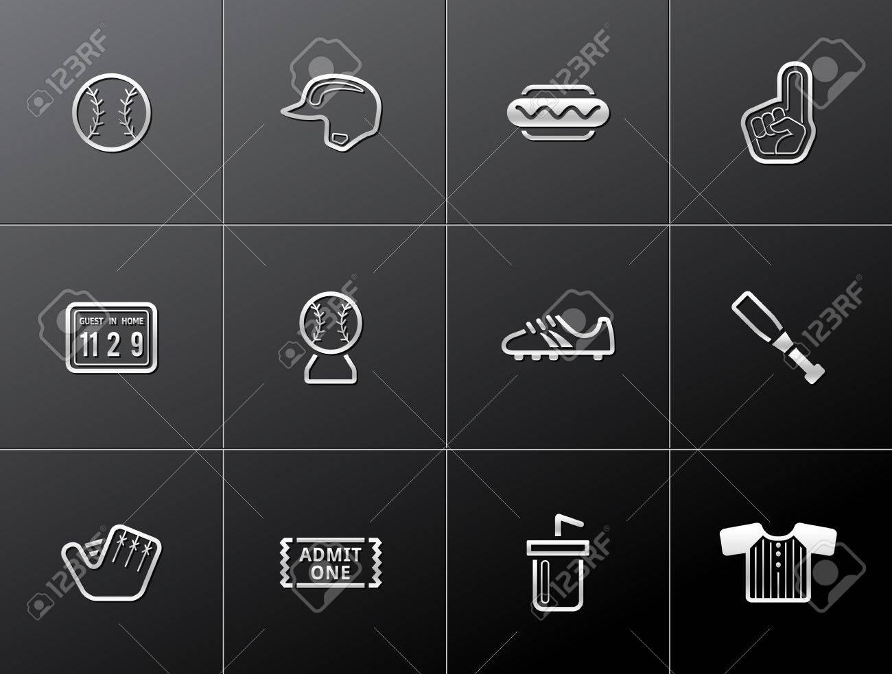 Baseball related icons in metallic style Stock Vector - 17233561