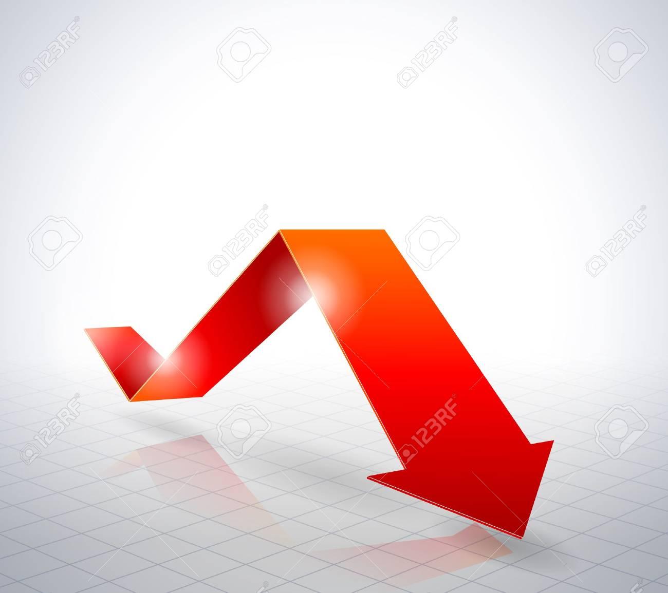 Red arrow graph. Stock Vector - 17233565