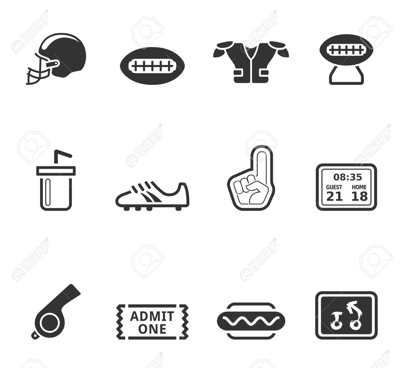 American Football Icon Series In Single Color Royalty Free Cliparts
