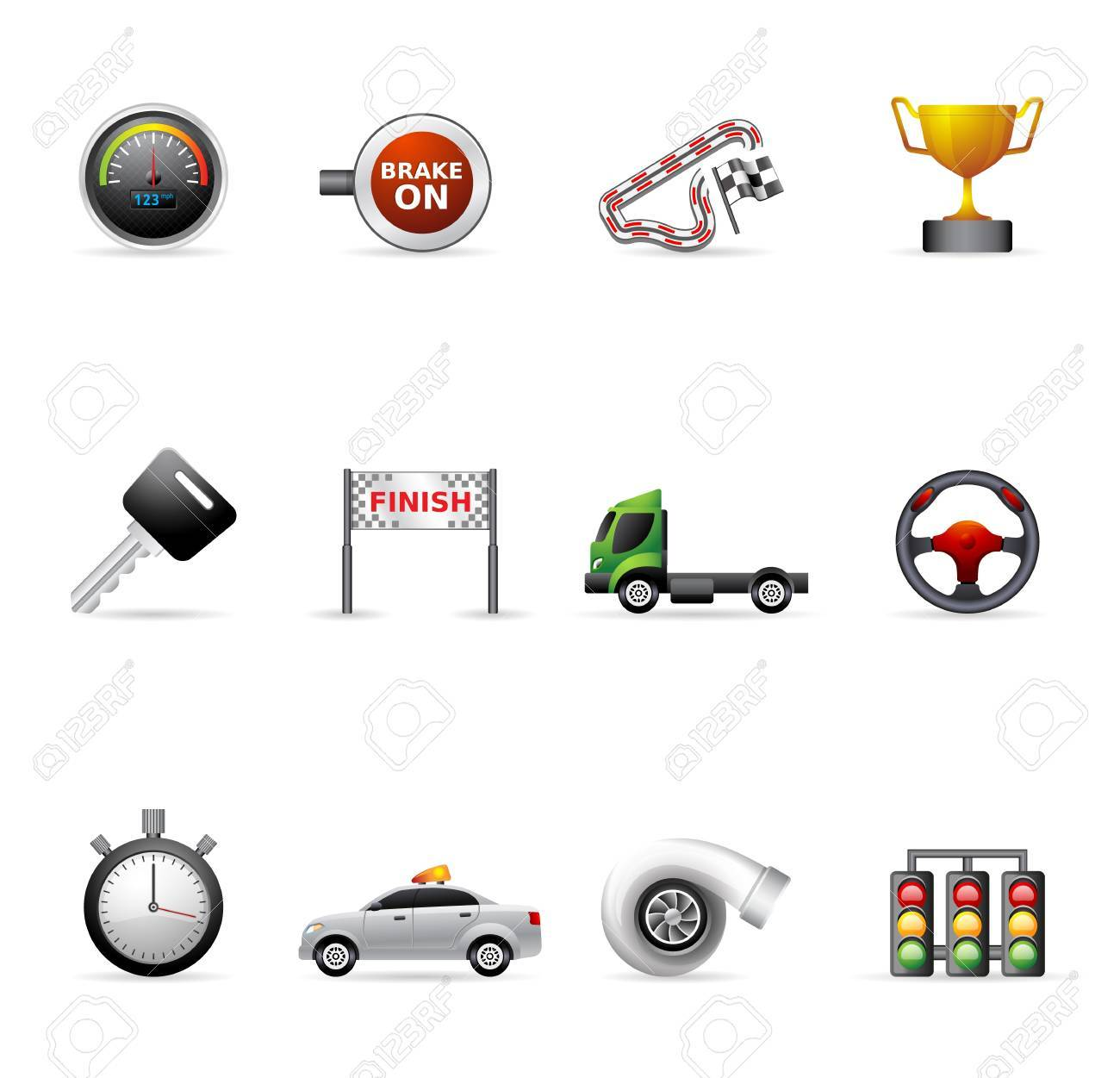 Racing icon series in colors. Stock Vector - 17233971