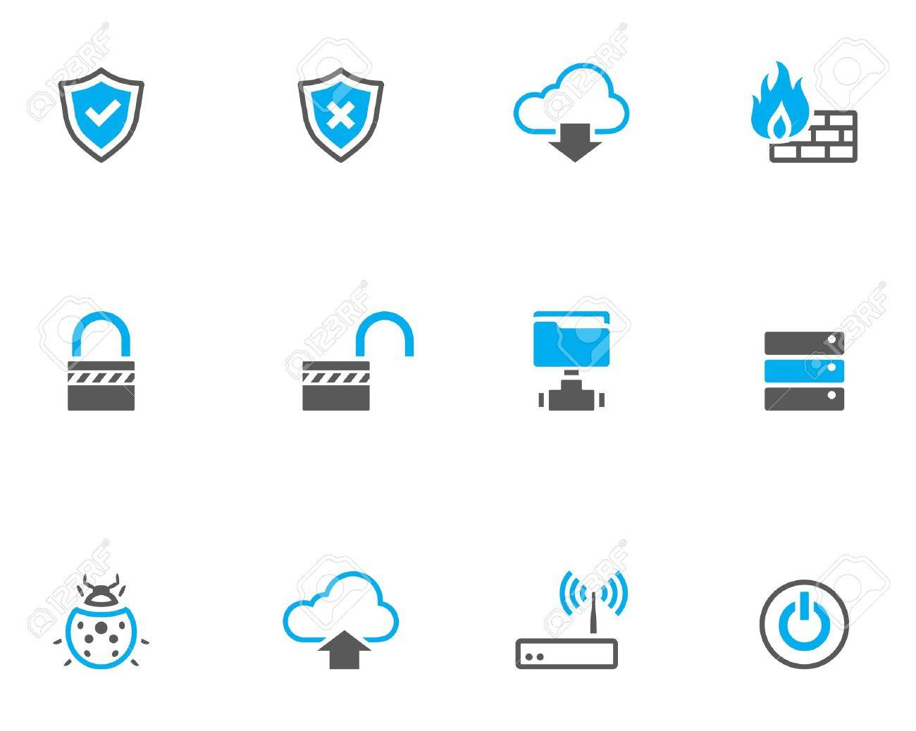 Computer network icon series in duo tone color style. Stock Vector - 17233820