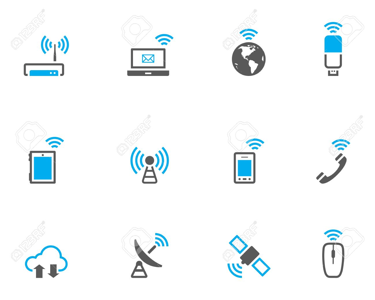 Wireless technology icon set in duo tone color style. Stock Vector - 17233894