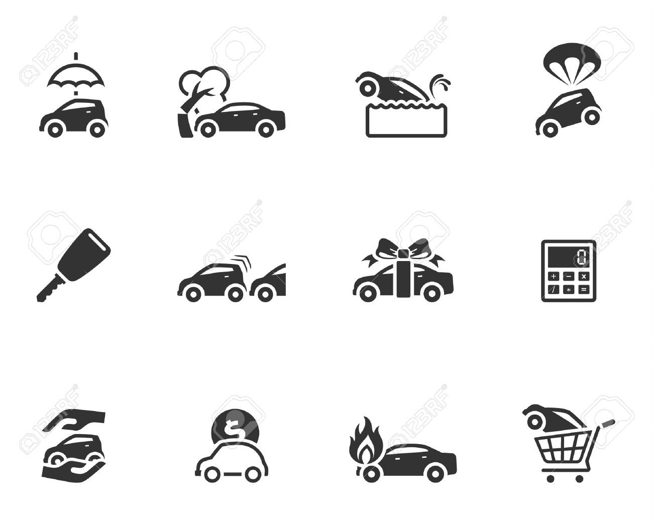 Car insurance icons in single color Stock Vector - 19605581