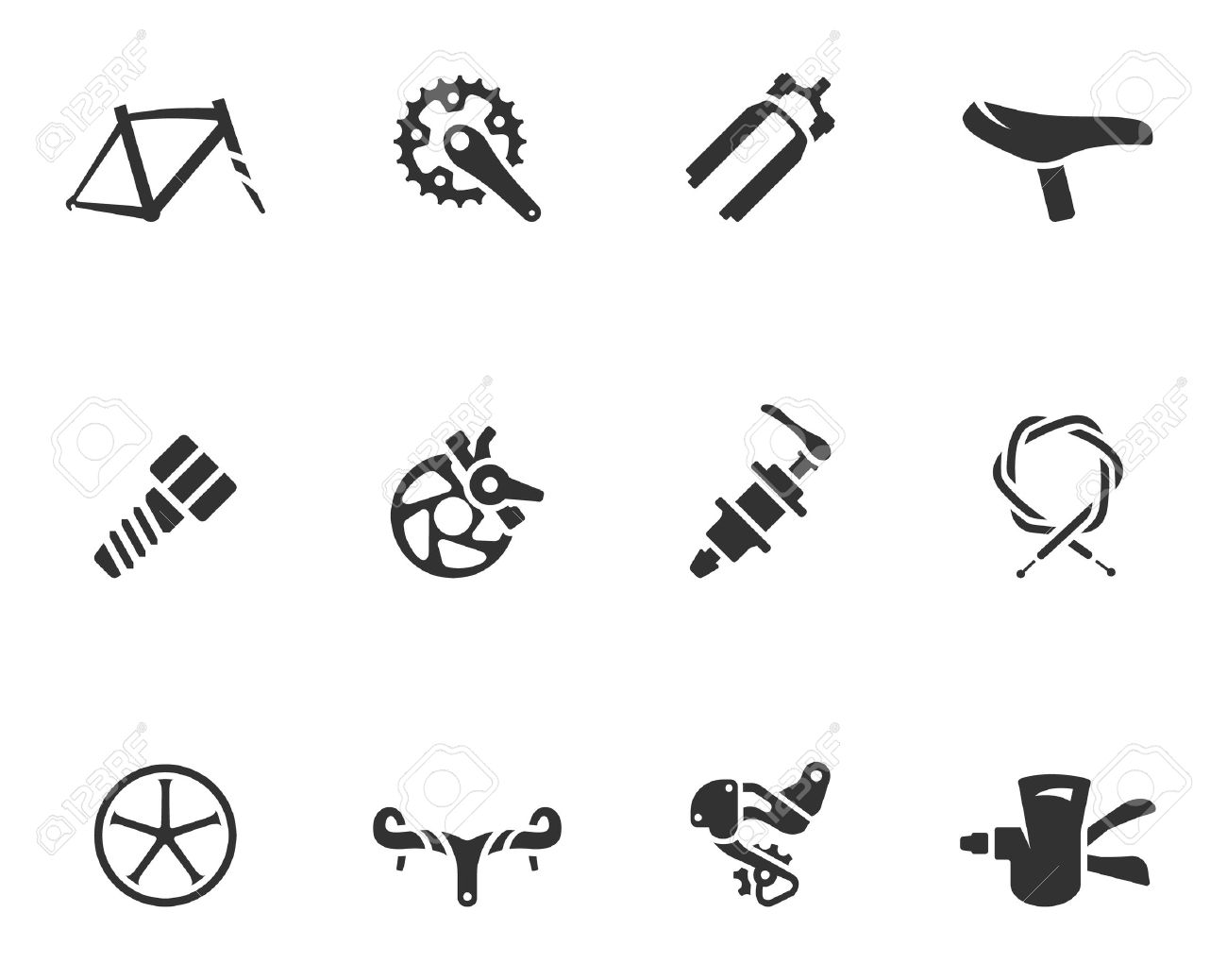 Bicycle Part Icons Series In Single Color Royalty Free Cliparts