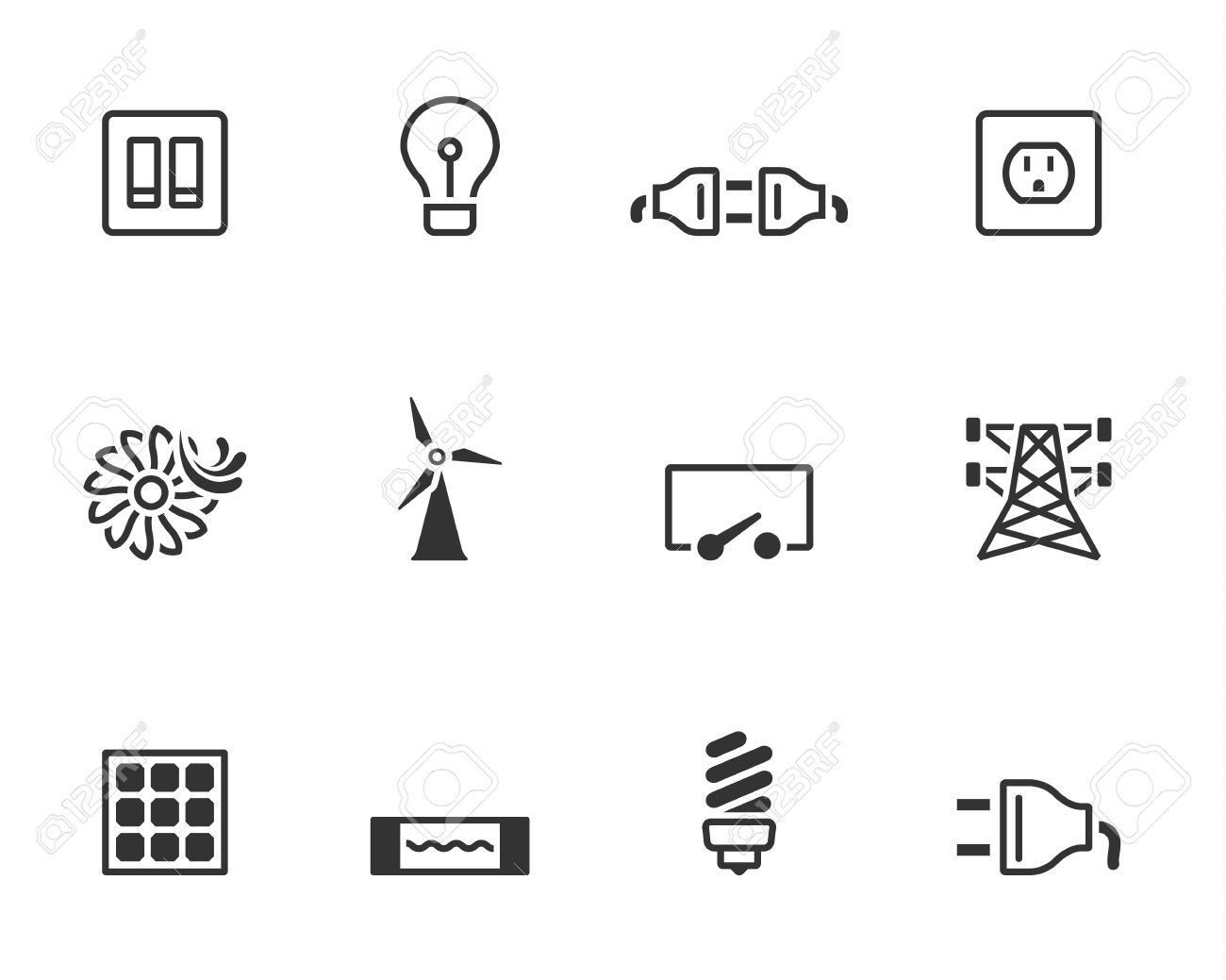 Electricity icons in single colors Stock Vector - 19605544