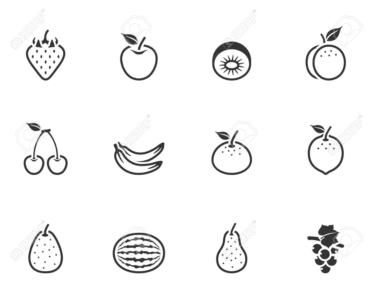 Fresh fruit icons in single color Stock Vector - 19605560