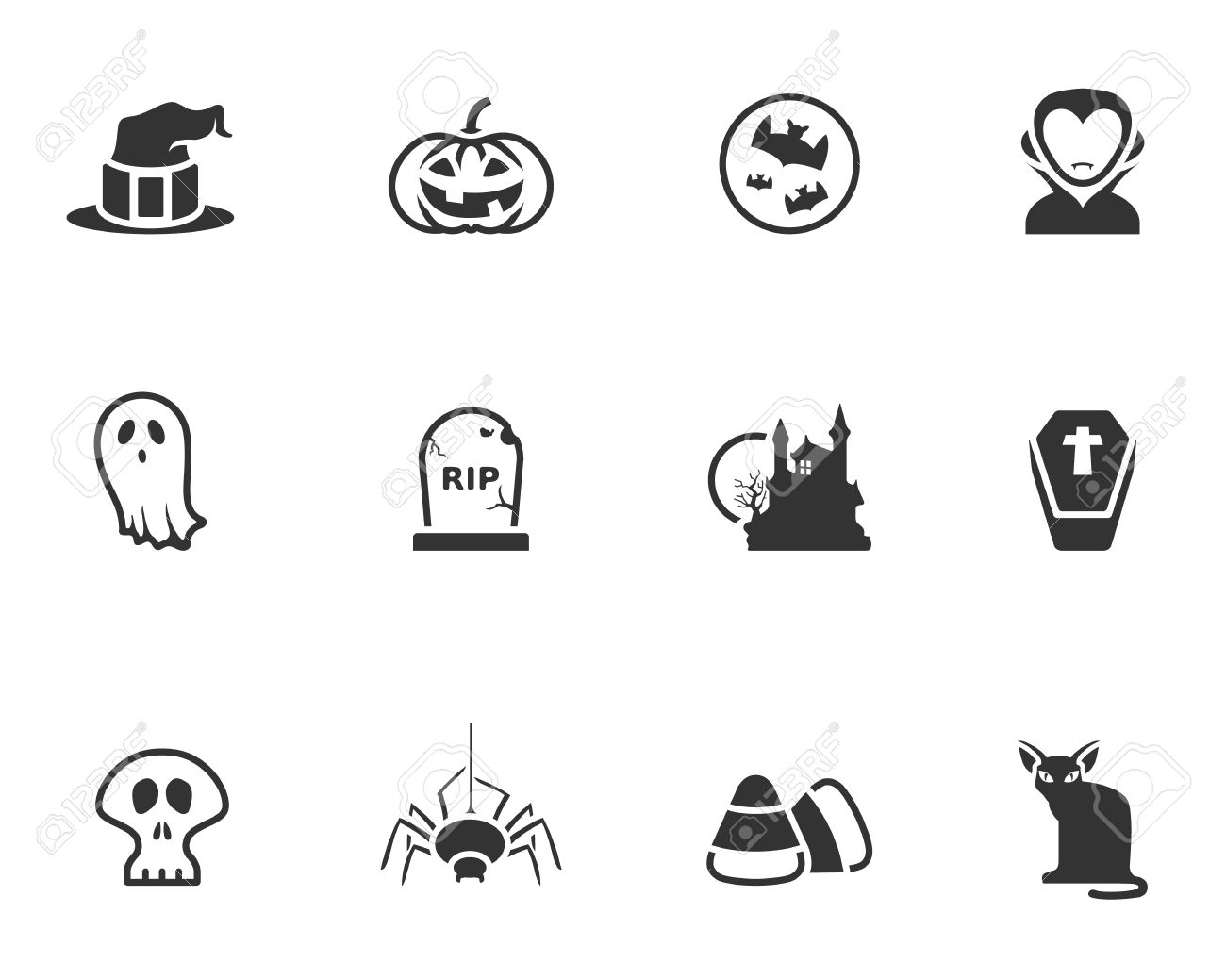 Halloween Vector Black And White.Halloween Icon Series In Black And White