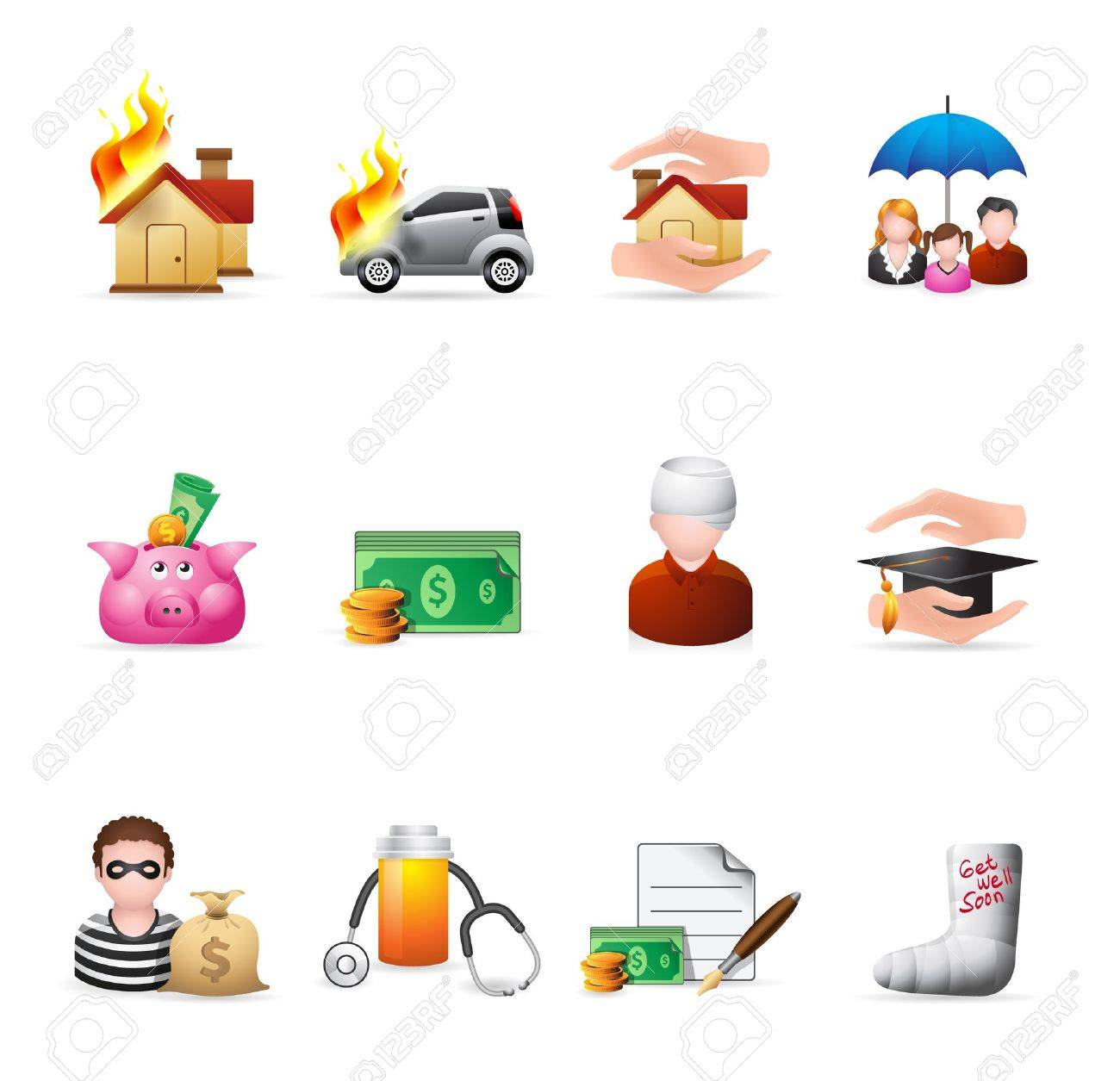 Insurance  icons in colors Stock Vector - 19605664