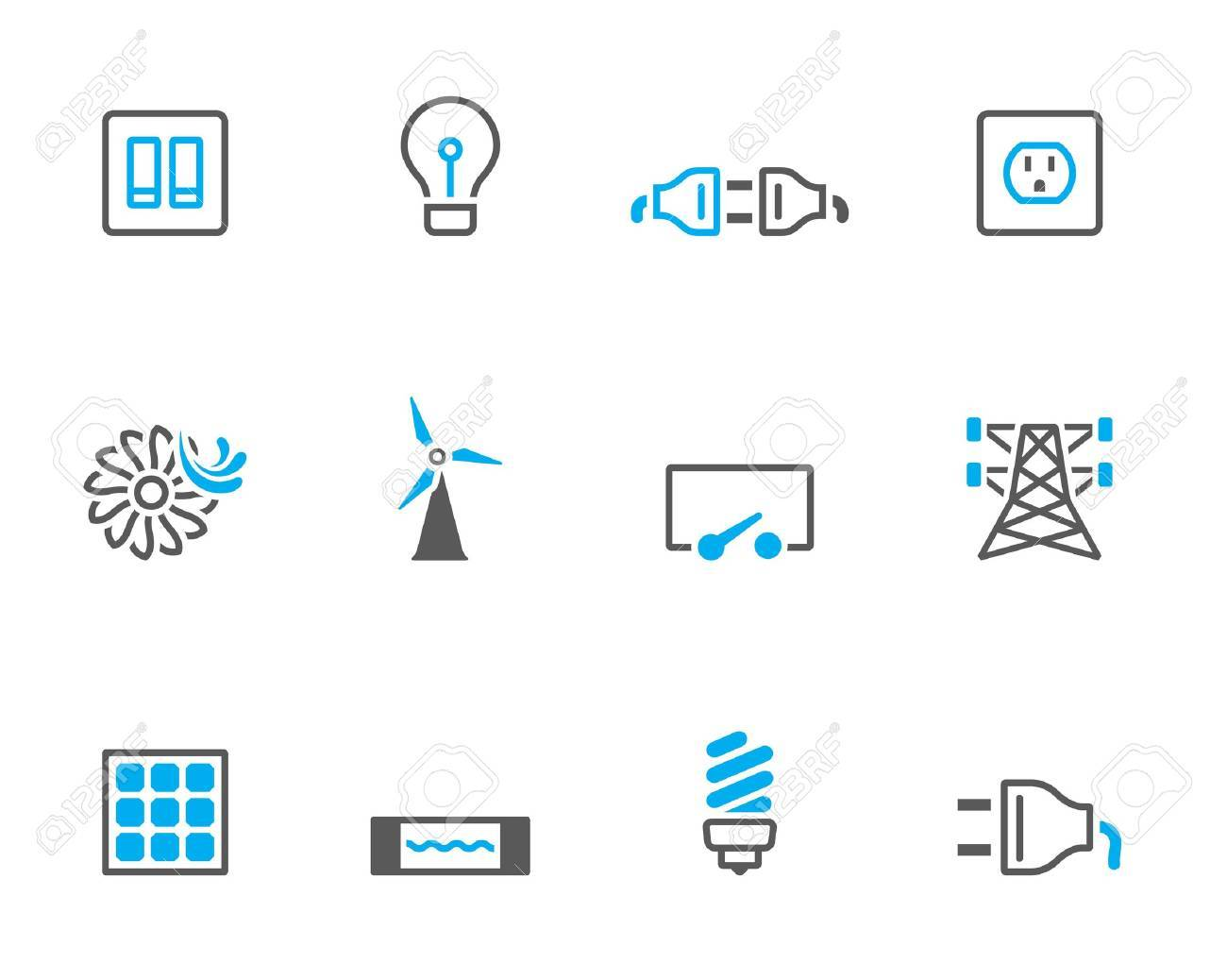 Electricity icons in duo tone colors Stock Vector - 19605545