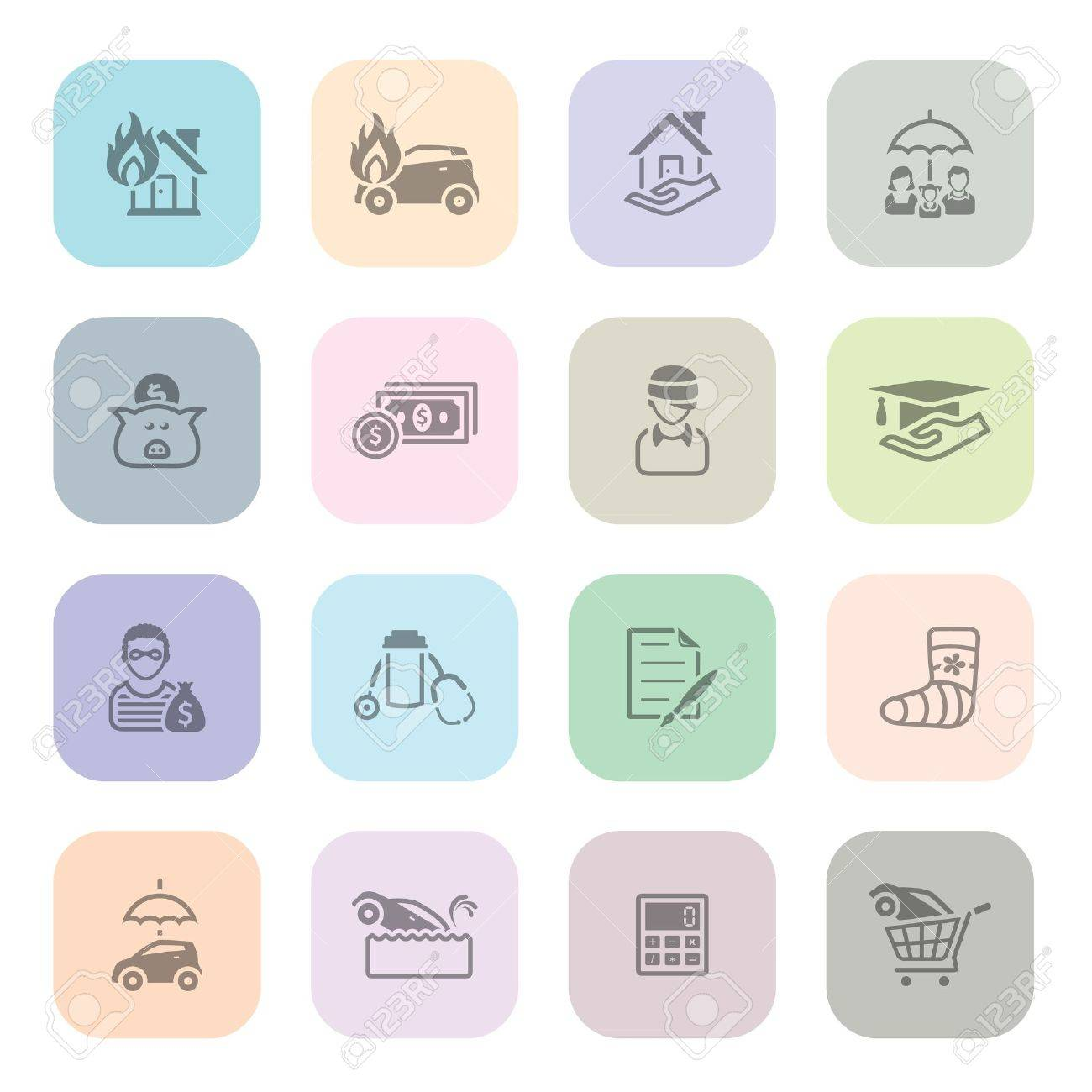 Insurance icon series in light colors Stock Vector - 19605648