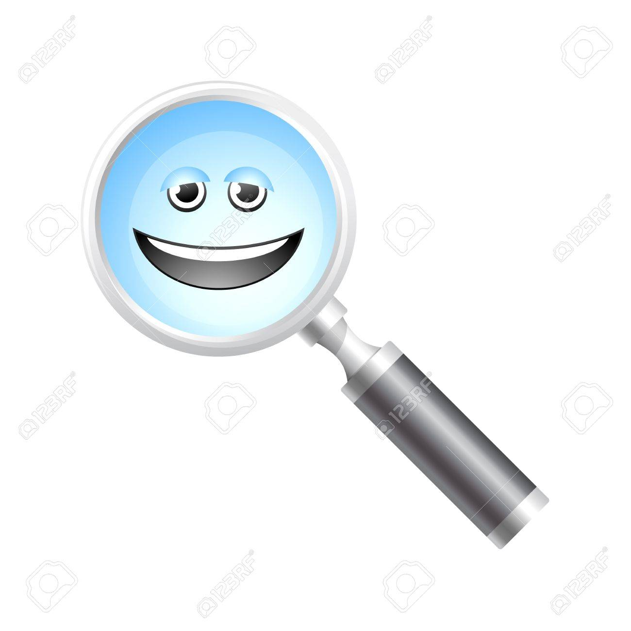 Smiling magnifier icon Stock Vector - 19605529