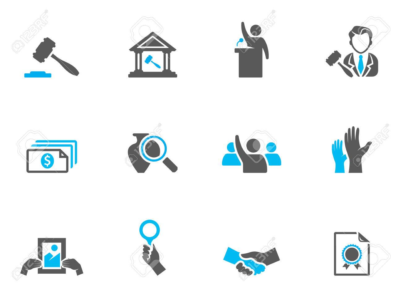 Auction icons in duo tone colors. EPS 10. Stock Vector - 23775127