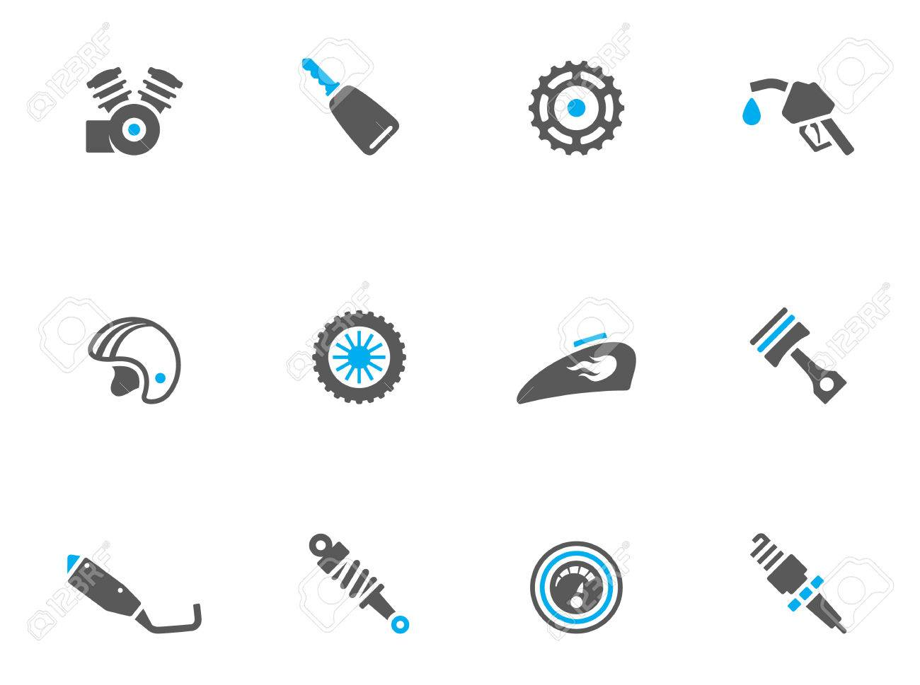 Motorcycle parts icons in duo tone colors. EPS 10. Stock Vector - 23775130