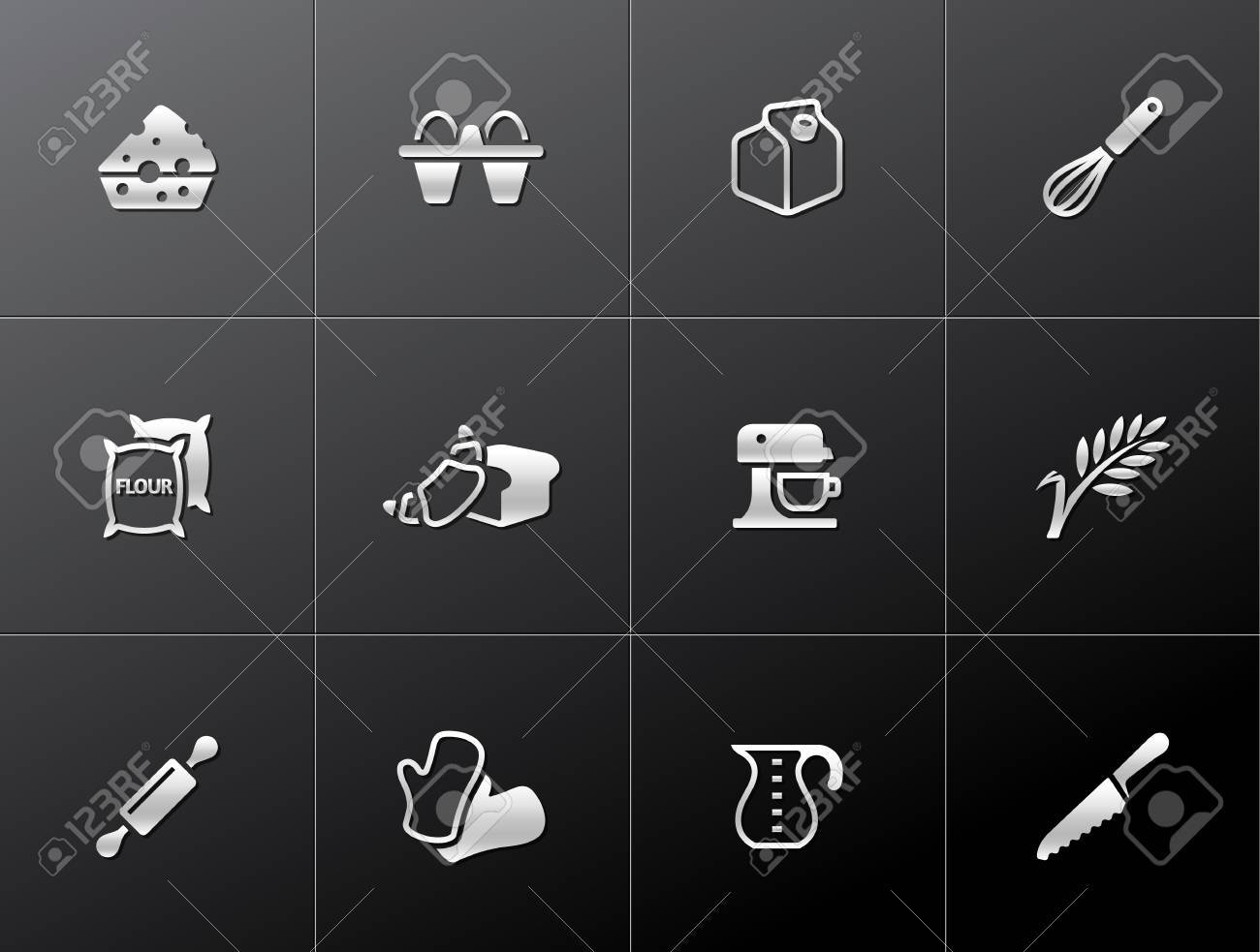 Baking icons in metallic style. EPS 10. Stock Vector - 23775140
