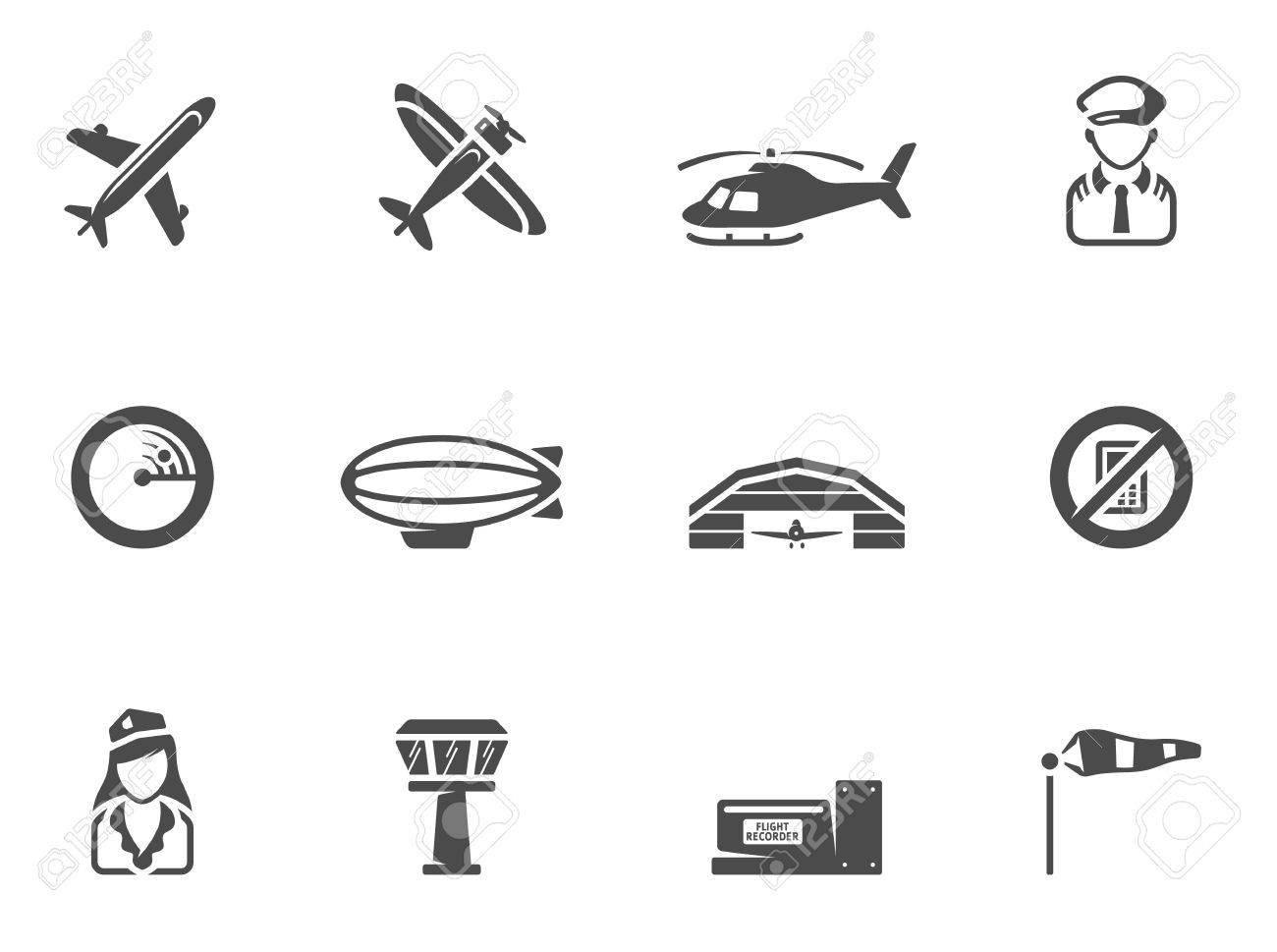 Aviation icons in single color. EPS 10.  Font used: Collaborate Bold Stock Vector - 23775153
